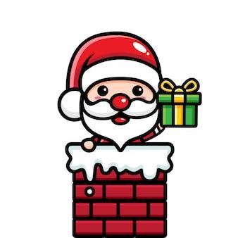 Süße weihnachtsmann-designs gehen in den schornstein
