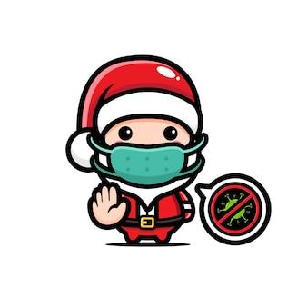 Süße weihnachtsmann pose pose stop virus