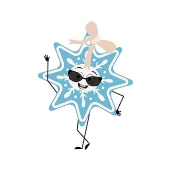Süße weihnachtsschneeflocke mit brille und fröhlichen emotionen lächeln augen arme und beine frohes neues jahr fe...