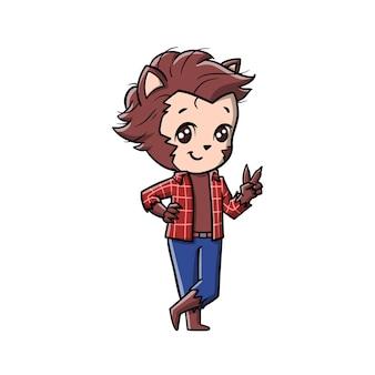Süße werwolf-karikatur
