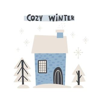 Süße wintergrußkarte mit schriftzug - gemütlicher winter. vektor-illustration