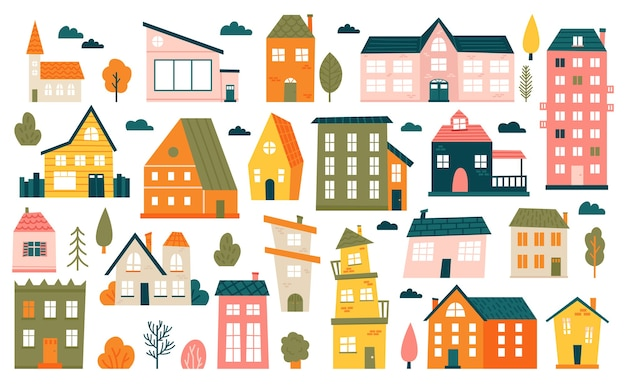 Süße winzige häuser. cartoon kleine stadthäuser, minimalismus stadtgebäude, minimale vorstädtische wohnhaus illustration ikonen gesetzt. haus kleine mehrfarbige, strukturierte stadtwohnfassade