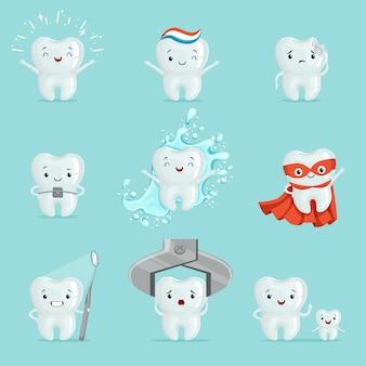 Süße zähne mit unterschiedlichen emotionen. cartoon detaillierte illustrationen