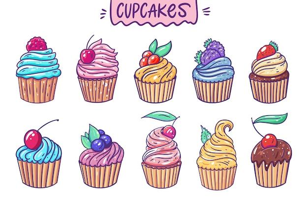 Süße zehn cupcakes. cartoon-stil.