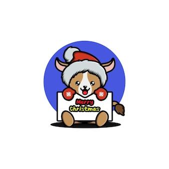 Süße ziege, die weihnachten feiert