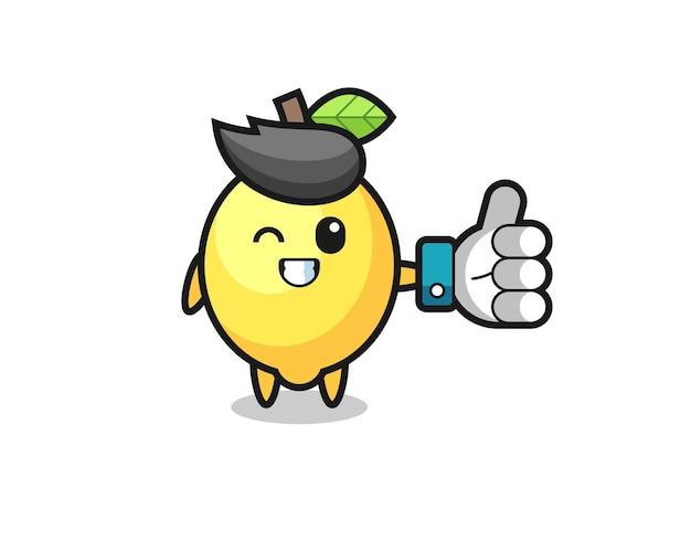 Süße zitrone mit social-media-daumen hoch symbol, süßes design für t-shirt, aufkleber, logo-element