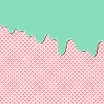 Süße zitronenminzencremearoma-eiscreme geschmolzen auf erdbeeroblatenbeschaffenheitshintergrundmuster