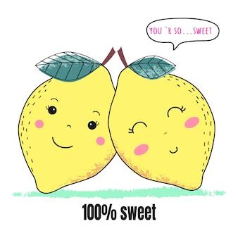 Süße zitronenpaare zum valentinstag