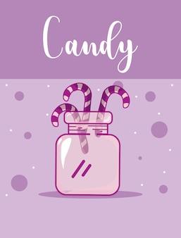 Süße zuckerstangen in der glasflasche