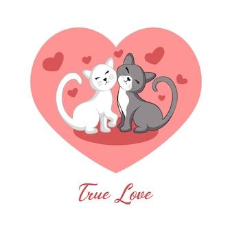 Süße zwei katzen lieben illustration