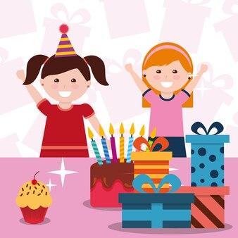 Süße zwei mädchen mit partyhut kuchen und geschenkboxen