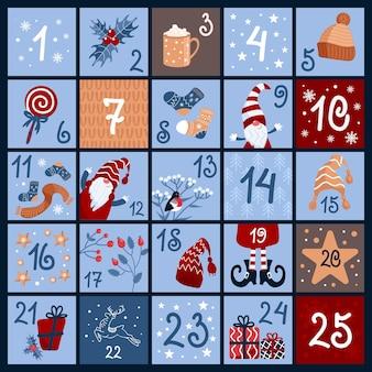 Süßer adventskalender warme winterkleidung süßigkeiten geschenke weihnachtszwerge gimpel heiße schokolade