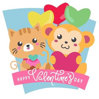 Süßer affe und katze des valentinstagthemas