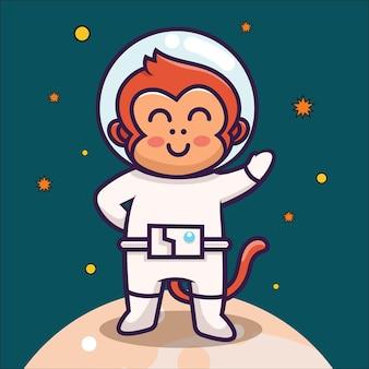 Süßer affen-astronaut schwebender cartoon