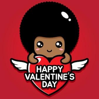 Süßer afro mit fröhlichem valentinstaggruß