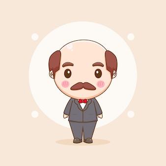 Süßer alter mann im formellen anzug chibi chracter illustration