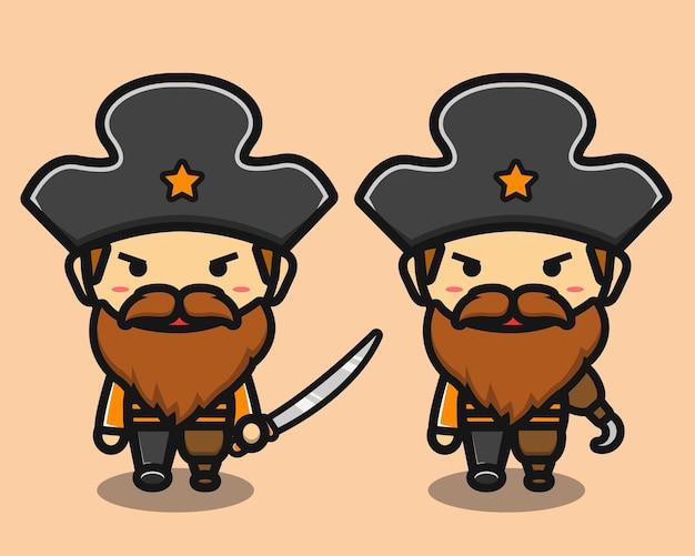 Süßer alter mann piraten mit schwertkarikatur