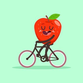 Süßer apfel fährt fahrrad. karikaturfruchtcharakter lokalisiert auf hintergrund.