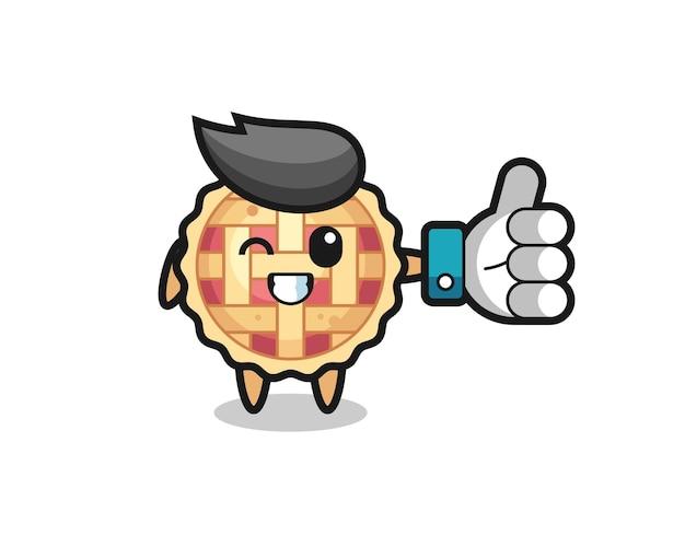Süßer apfelkuchen mit social-media-daumen hoch symbol, süßes design für t-shirt, aufkleber, logo-element