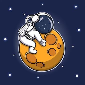 Süßer astronaut, der den mond umarmt
