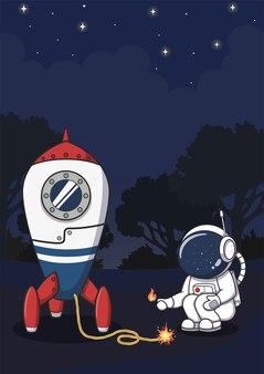 Süßer astronaut, der eine rakete zündet