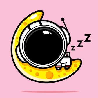 Süßer astronaut, der fest auf dem mond schläft