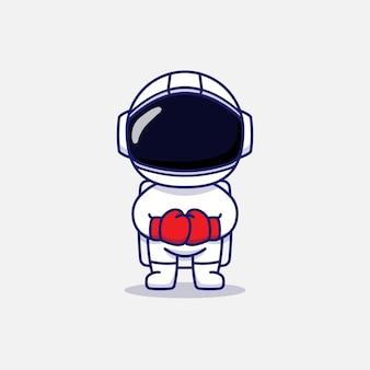 Süßer astronaut mit boxhandschuhen