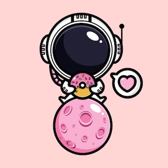 Süßer astronaut mit rosa nachtisch