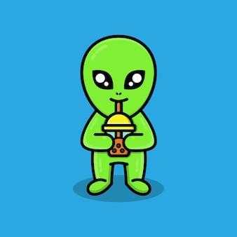 Süßer außerirdischer, der boba-tee trinkt