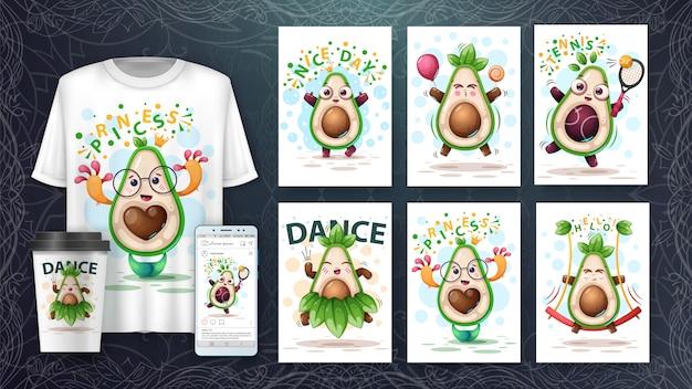 Süßer avocadokartensatz und merchandising.