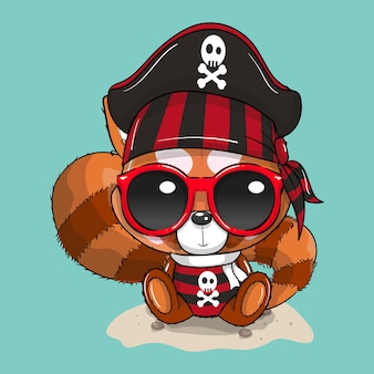 Süßer baby-cartoon-panda im piratenkostüm