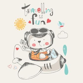 Süßer babybär, der auf einer gezeichneten vektorillustration des planecartoons fliegt