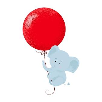 Süßer babyelefant, der an hängt, um luftballon zu lüften