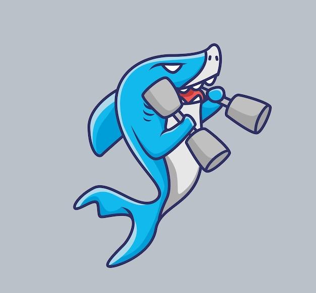 Süßer babyhai, der eine hantel-fitnessstudio-karikatur-tiersportkonzept anhebt isolierte illustration