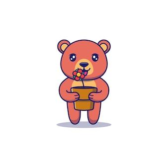 Süßer bär, der eine blume in einem topf trägt