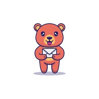 Süßer bär, der einen brief trägt