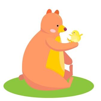 Süßer bär hält ein huhn cartoon-tier stock-vektor-illustration auf weiß