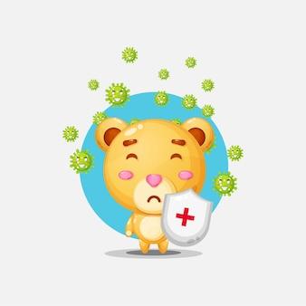 Süßer bär hat ein virus
