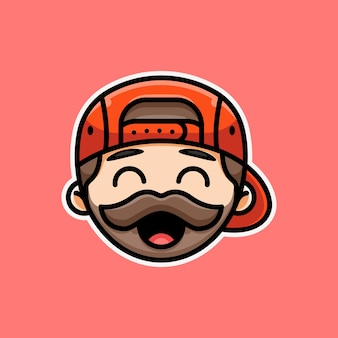 Süßer bärtiger mann für symbolaufkleber-logo und illustration