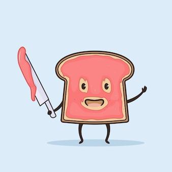 Süßer bart mit erdbeermarmelade-illustration