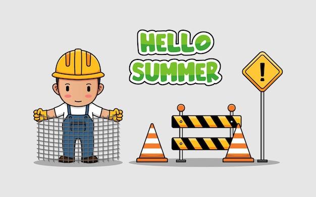 Süßer bauarbeiter mit hallo sommer