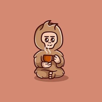 Süßer bigfoot mit einer tasse kaffee