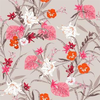 Süßer botanischer waldvektor der weinlese nahtloses blumenbetriebsmuster. exotisches blühen vieler art blumenillustration. design für stoff, web, mode und alle drucke