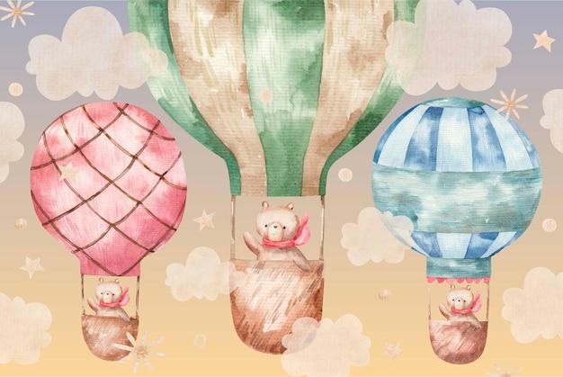 Süßer braunbär in einem roten schal fliegt auf farbigen luftballons, süße babyaquarellillustration auf weißem hintergrund