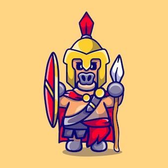 Süßer büffelgladiator spartanisch mit schild und speer
