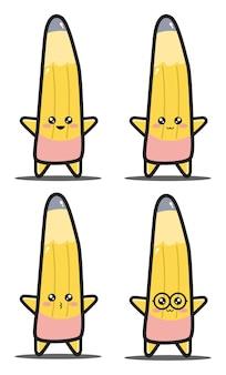 Süßer cartoon bleistift kawaii design premium