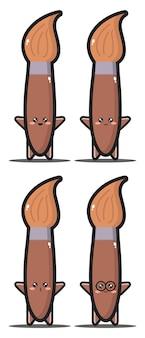 Süßer cartoon pinsel kawaii design premium