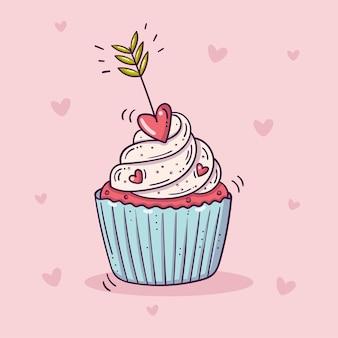 Süßer cupcake verziert mit pfeil mit einem roten herzen, im gekritzelstil