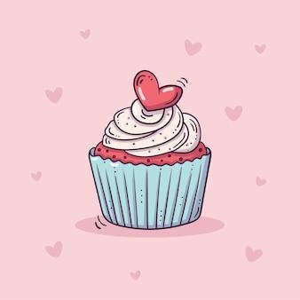Süßer cupcake verziert mit rotem herzen im gekritzelstil