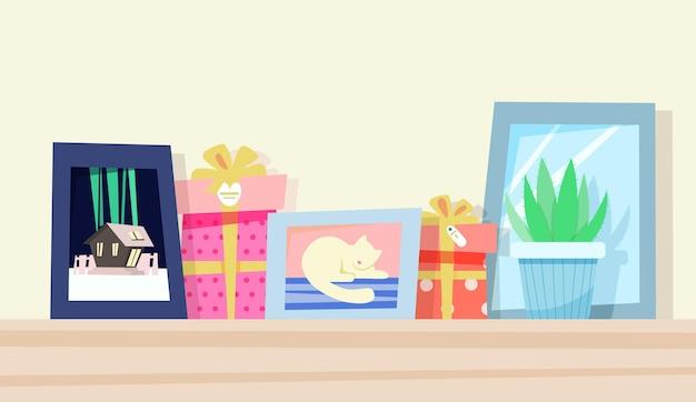 Süßer donut mit fotorahmen und geschenken
